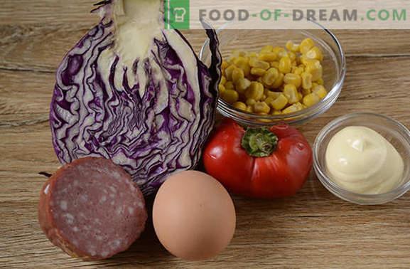 Punane kapsasalat - helge, maitsev, vitamiin! Kuidas kiiresti valmistada punase kapsa salat pipra, maisi, vorsti ja munaga