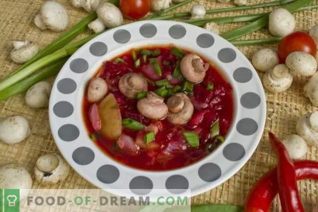 Punane peedi supp kana ja šampinjonidega