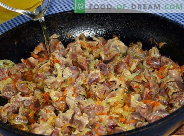 Kuidas valmistada maitsvaid kana magu pannil, aeglases pliidis, ahjus, hapukoores, pottides