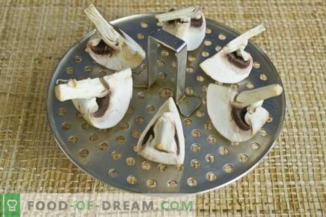 Spinatipüree supp, küüslaugu nooled ja seened