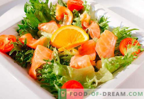 Ensalada con salmón - una selección de las mejores recetas. Cómo preparar de forma adecuada y deliciosa una ensalada con salmón.