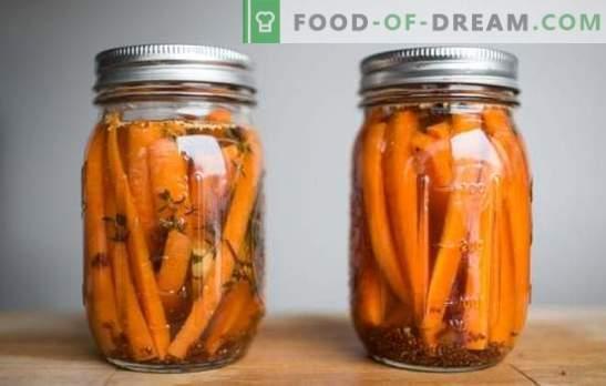 Salatid ja marineeritud porgandite kõrvaltooted küüslauguga. Suupisted, laua jaoks ja talveks - marineeritud porgandid küüslauguga