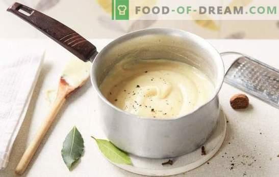 Kuidas süüa bechameli kodus? Kodu kaste kastmes: sibula, liha, juustu ja seentega