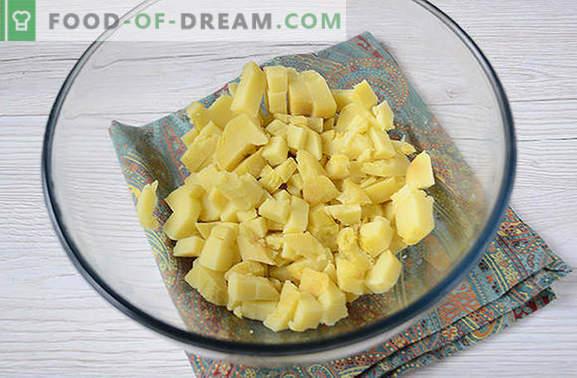 Kartuli salat seentega - täielik roog suve lõuna- või õhtusöögiks. Samm-sammuline foto retsept kartuli salatiga seentega