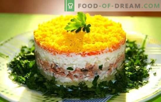 Mimosa salat juustuga: tõestatud ja originaalsed retseptid. Salatid