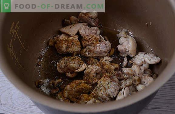 Hautatud kana seentega: me valmistame lõhna reied puhkuseks ja iga päev. Autor on samm-sammult valikus retsept kanafilee valmistamiseks hapukoorega