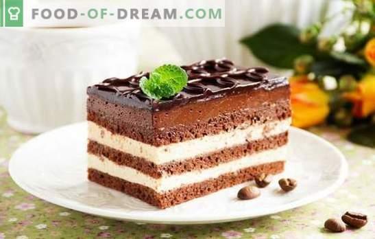 Opera Cake on harmooniline magustoit. Retseptid erinevate ooperikookide valmistamiseks korintidega, kohvi, pähklitega, Šveitsi koorega