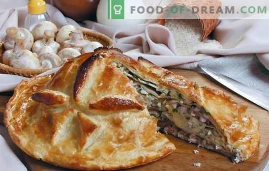Kurnik riisiga on traditsiooniline rõõmsameelne kook. Parimad retseptid kana, riisi, seente, juustu jaoks