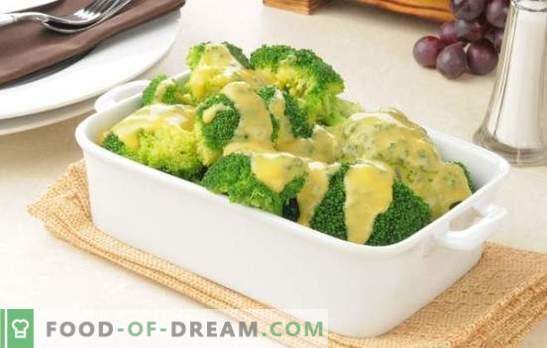 Broccoli kreemjas kastmes muskaatpähkliga, juustuga, seentega. Retseptid keedetud ja küpsetatud brokkoli kreemikastmes