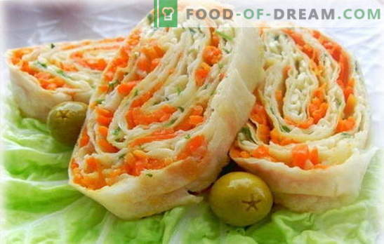Lavash roll Korea porganditega - lihtne, maitsev, tervislik. Korea porganditega pita leiva rullide täidiste variandid