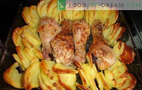 Kanajalad kartulitega ahjus - suurepärane õhtusöök! Kanaliha retseptid kartuliga ahjus: 7 varianti ühe tassi kohta