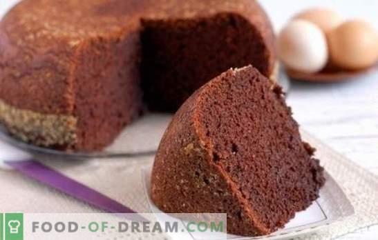 Kakao käsn kook - šokolaadisaal! Omatehtud retseptid kakao küpsisteks: klassikaline, keedetud vesi, kefiir, hapukoor kirsiga