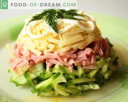 Hamba salatid on parimad retseptid. Kuidas õigesti ja maitsev süüa salatiga sinkiga.