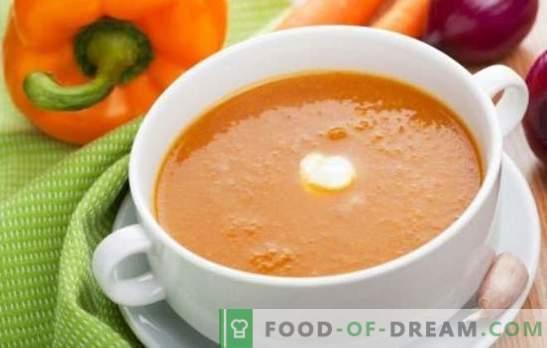 Köögiviljade supp - õrn esimene kursus. Maitsvad köögiviljakastmed: tomat, suvikõrvits, kõrvits, brokkoli, spinat, pipar