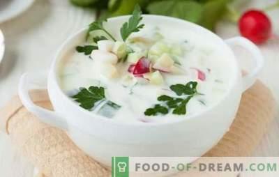 Okroshka on airana: tervislik ja maitsev roog. Mitmed retseptid okroshka kohta airana kulinaarse piggy bank hostess