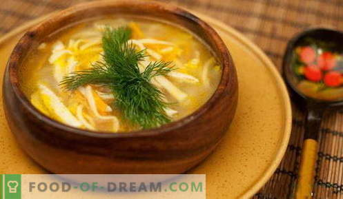 Sopa de fideos - las mejores recetas. Cómo cocinar correctamente y sabrosa la sopa de fideos.