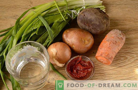 Roheline borsš tomatipasta ja peetega: samm-sammult autori retsept koos fotodega. Kuidas süüa maitsvat hapu ja suhkrupeedi suppi tomatipastaga - jagada saladusi