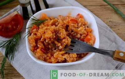 Rice with minced meat and vegetables in tomato: fantasy about the risotto of the available products. Photo-recipe for cooking rice with minced meat and vegetables in tomato: step by step