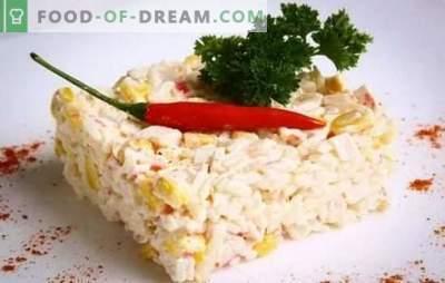 Salata de crabi (rețetă pas cu pas) este un aperitiv original produs din produse simple. Rețetă pas cu pas pentru salata de crab: selecția și prepararea ingredientelor