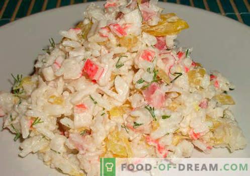 Riisi ja maisiga salat - valik parimaid retsepte. Kuidas korralikult ja maitsev valmistada salat riisi ja maisiga.