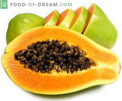 Papaya - kirjeldus, kasulikud omadused, kasutamine toiduvalmistamisel. Retseptid papaiaga.