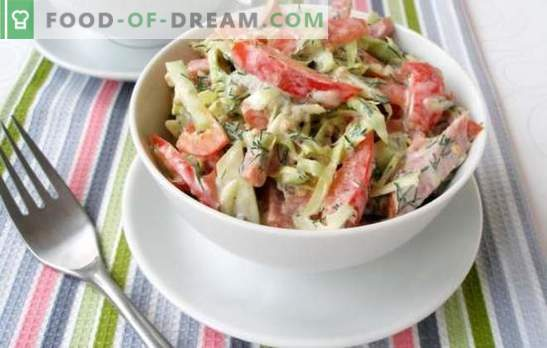Salada com pepino e salsicha - cozido com sabor! Receitas para saladas com pepino e salsicha: nutritivo, leve, escamoso, dietético