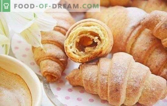 Bagel koos moosiga - lapsepõlve maitse! Lihtne ja originaalne retsept croissantidele, mis sisaldavad mureküpsist, pärmi ja kohupiima tainast