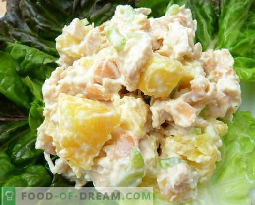 Kana, ananassi ja seente salatid on parimad retseptid. Kuidas õigesti ja maitsev valmistada salat kana, ananasside ja seentega