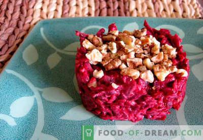 Peedisalat küüslauguga - viis parimat retsepti. Kuidas korralikult ja maitsvalt valmistada küüslauguga suhkrupeedist salateid.