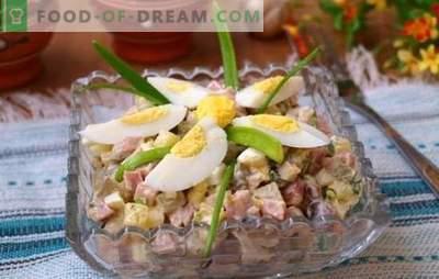 Munade ja sinkide salat on igapäevane suupiste. Top 12 parimat retsepti muna ja sinki salatiga: toitev ja kerge