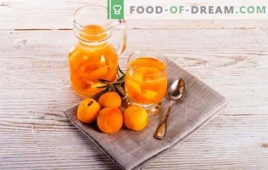 Kompositsioon aprikooside jaoks talveks ilma steriliseerimiseta - loomulik! Retseptid kompotivad aprikoose talveks ilma steriliseerimiseta happe, piparmündi, kirsi jm.