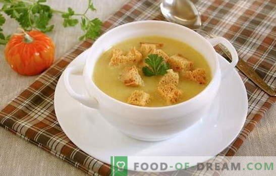 Krõbikupp krutoonidega - universaalne idee lõunaks! Kartulid, krutoonide ja köögiviljade, seente, kana