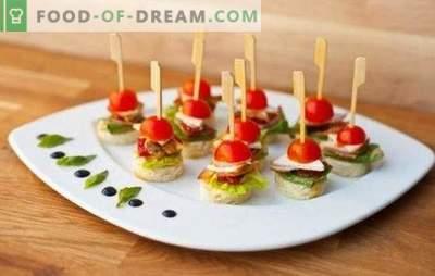 Suupisted laudadel - alati maitsvad ja tähelepanuväärsed. Lihtsad retseptid originaalsete kanepite ja puuvilja suupistete kohta varrasel