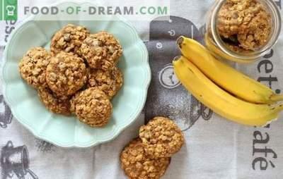 Kaerajahu küpsised banaanidega: lõhnav ja tervislik magustoit hommikusöögiks. Toitumisvõimalused kaerahelbedele banaanide, kuivatatud puuviljade, kodujuustu, pähklite ja šokolaadiga