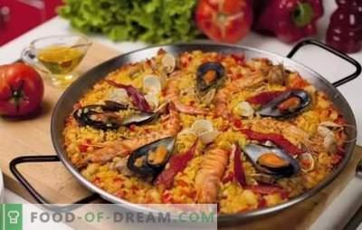 Paella mereandidega - Hispaania stiilis. Paella valmistamine mereandide ja oadega, mais, herned, kala