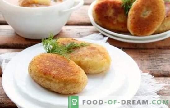 Juicy zrazy pannil: liha, seene, muna, juustu täidisega. Söögivalmistamise ja kartuli zrazi saladused pannil