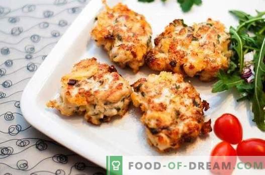 Peenestatud kanafilee juustuga - ideaalne lahendus. Valik retsepte tükeldatud lihapallid juustu ja maitsetaimede, köögiviljade, teraviljaga