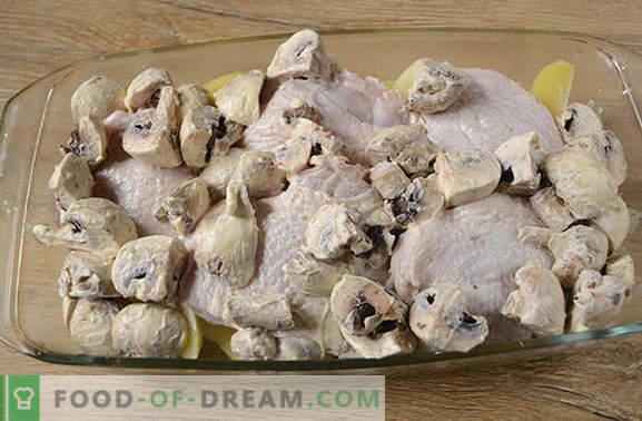 Kana, kartuliga küpsetatud: samm-sammult fotoretsept. Küpsetame kana kartulite, pipartega ja seentega - minimaalset pingutust, maitsvat tulemust!