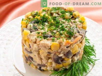 Salade met maïs en kip - de beste recepten. Hoe goed en smakelijk gekookte salade met maïs en kip.