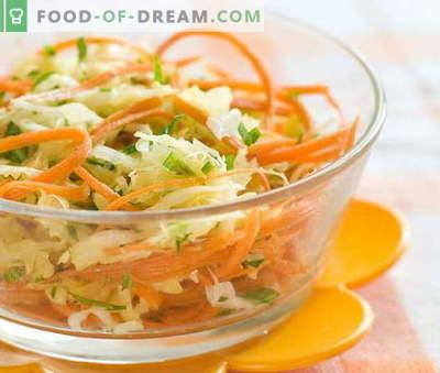 Värske porgandi ja kapsasalatid on viie parimaid retsepte. Salatite valmistamine värsketest porganditest ja kapsast.