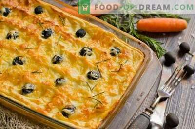 Potato casserole with chicken, cheese and olives