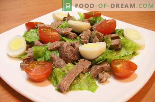 Liha salatid - parimad retseptid. Kuidas õigesti ja maitsev küpseta liha salateid.