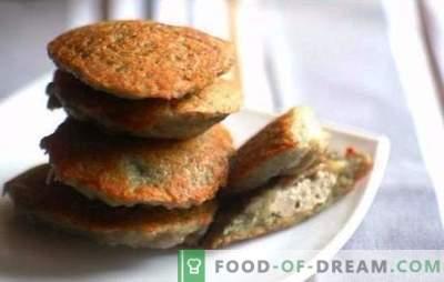 Jantar de panqueca caseiro com carne picada - mais rápido do que você pensa. Panquecas Ruddy com carne picada, queijo e legumes