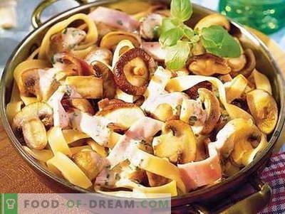 Pasta seentega - parimad retseptid. Kuidas korralikult ja maitsvaid küpsetada pasta seentega.
