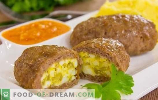 Liha Zrazy - üllatuspüksid! Retseptid liha zraz muna, juust, seened, maks, marineeritud, rohelised sibulad