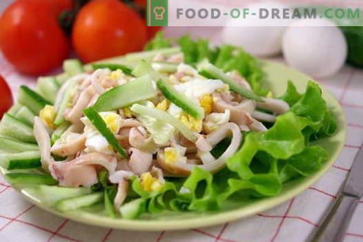Squid salatid on parimad retseptid. Kuidas õigesti ja maitsev valmistada kalmaari salateid.