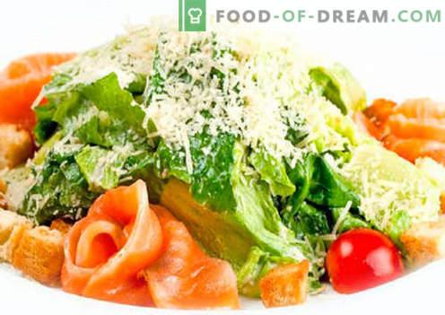 Salat koos lõhe ja tomatitega - õiged retseptid. Kiiresti ja maitsev salatit lõhe ja tomatitega.