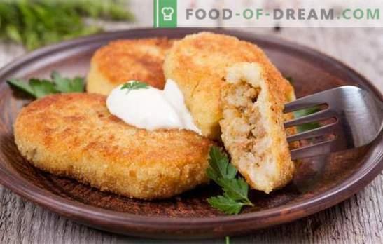Zrazy kartul liha - vanaema meistriteos! Maitsev zrazy kartul liha valmistamiseks pannil, ahjus, aurutatud