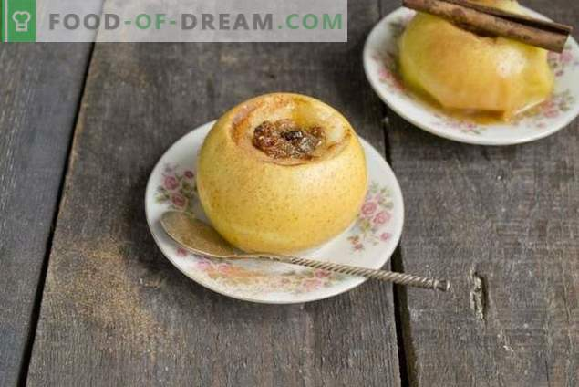 Küpsetatud õunad mee ja kuivatatud puuviljadega
