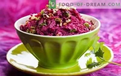 Salate aus Zuckerrüben mit Mayonnaise: nicht nützlich? Rezepte für Rübensalate mit Mayonnaise und Eiern, Fisch, Pilzen, Bohnen, Nüssen, Leber
